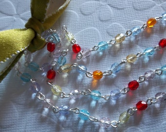 Pastel Mix 4mm Fire Polished Glass Beads on Silver Beaded Chain - Qty 18 Inch strand