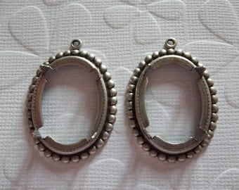 25X18mm Oxidized Sterling Silver Plated Brass Beaded Edge & Open Back 4-Pronged Setting - Qty 2