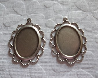 Vintage Inspired 25 X 18mm Oxidized Silver Plated Scalloped Filigree Design Settings - Qty 2