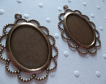 Vintage Inspired 25X18mm Antiqued Brass Scalloped Filigree Design Settings - Qty 2
