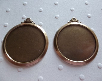Vintage Inspired 25mm Round Oxidized Antiqued Brass Simple & Elegant Settings - Qty 2