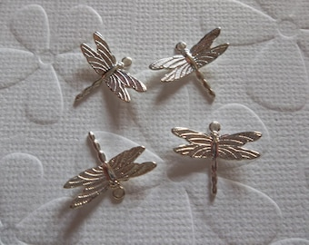 Silver Plated Dragonfly Charms with Wings Bent in Flight - 15 X 11mm - Qty 6