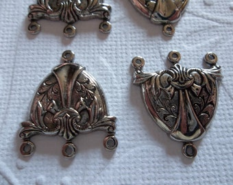 Vintage Inspired Ornate Antiqued Silver 3 to 1 Loop Chandelier Earring Connectors - 15 x 19mm - Pendants or Necklace Y Connectors - Qty 6