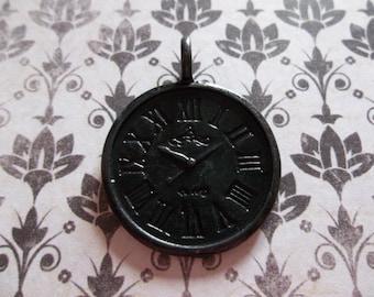 French Market Black Clock Charms - Roman Numerals - Black Clock Pendant - Qty 2