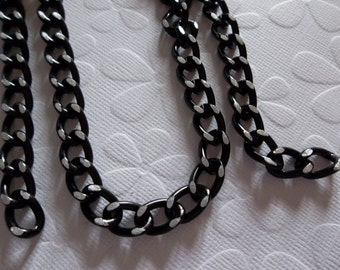 Lightweight Black Chunky Curb Chain 8 X 14mm Links - 30 inches