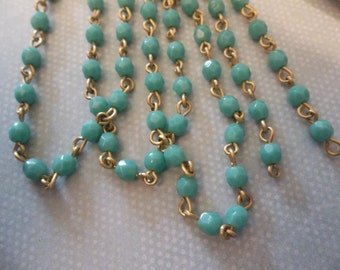 Bead Chain Rosary Chain Turquoise 4mm Fire Polished Glass Beads on Brass Beaded Chain - Qty 18 inch strand