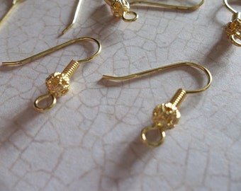 Brass Fish Hook French Earwire 20mm Earring FIndings with Filigree Ball & Coil - Qty 24
