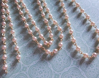 Cream 4mm Glass Pearls on Gold Beaded Chain - Qty 18 inch strand