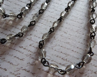Bead Chain Rosary Chain Black Diamond 4mm Fire Polished Glass Beads on Jet Black Beaded Chain - Qty 18 inch strand