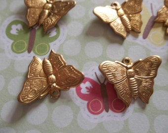 Brass Butterfly Charms - Pendants with Wings Bent in Flight - 18X13mm - Qty 6