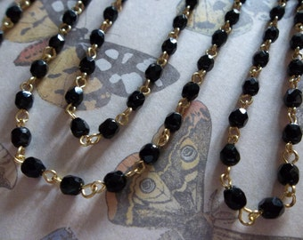 Jet Black 4mm Fire Polished Glass Beads on Gold Beaded Chain - Qty 18 Inch strand