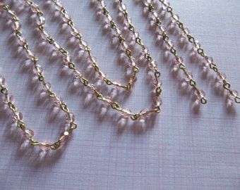 Bead Chain Rosaline Pink 4mm Fire Polished Glass Beads on Brass Beaded Chain - Qty 18 Inch strand