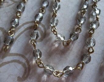 Black Diamond 4mm Fire Polished Glass Beads on Brass Beaded Chain - Qty 18 Inch strand