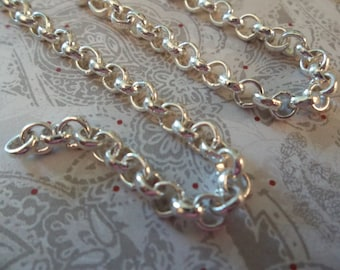 Silver Finish Steel Rolo Chain 4.5mm - Qty 28 inch strand
