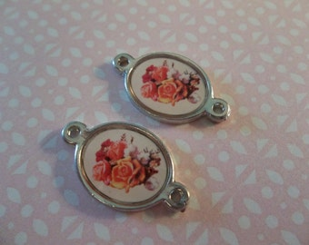 Rose Connectors - Italian Enamel Bouquet of Roses Charms - Silver Oval Connectors with 2 Loops - Qty 2