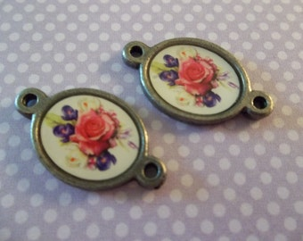 Rose Connectors - Italian Enamel Bouquet of Mixed Flowers - Antiqued Silver Oval Charms with 2 Loops - Qty 2