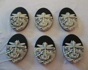 Ivory Dragonfly & Lotus Flowers on Black Cameo - 25 X 18mm Resin Cabochons - Qty 6