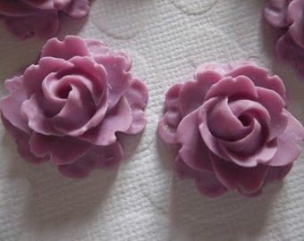 22mm Purple Rose Cabochons - Flower Cameos - Qty 6