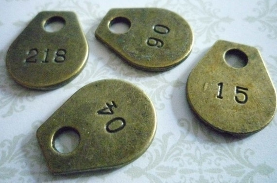 Set of 4 Brass Luggage Tags with Stamped Numbers