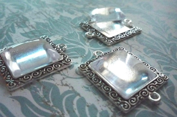 Antiqued Silver Square Connectors, Charms or Pendants with 16mm Matching Cabochons - Qty 3 Bezels with 3 Clear Cabochons