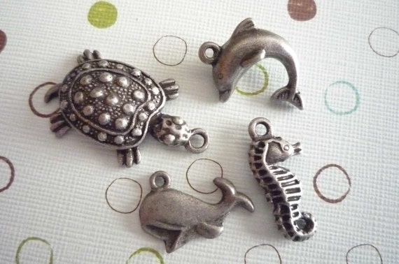 Set of 4 Sea Life Charms - Dolphin Turtle Seahorse Whale in Antiqued Oxidized Silver