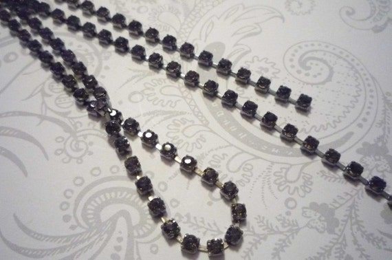 GunMetal & 3mm Smoke Gray Crystal Rhinestone Chain 32 inches with 8 Connectors