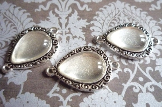 Teardrop Shape Antiqued Silver Image Settings Charms 2 Loop Connectors and Matching Bubble Tops Cabs - Qty 3 Bezels with 3 Bubble Tops