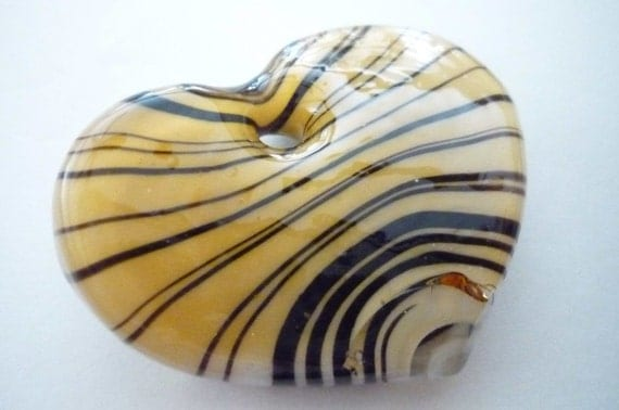 CLEARANCE SALE PRICE: Tiger Striped Art Glass Huge Heart Bead Pendant in Topaz, Black & White Qty 1