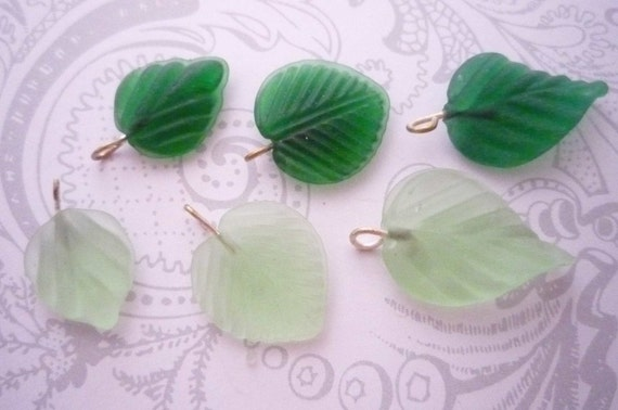 Assortment of Three Shapes Light & Emerald Green Glass Leaf Charms Beads Leaves Qty 54