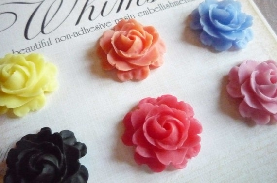 Set of Roses Flower Blooms Flat Back 22mm Cabochons Shapes in Red Orange Pink Black Yellow Blue Qty 6