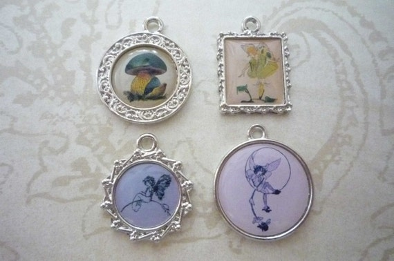 Set of 4 Fairy and Mushroom Charms in Fancy Silver Frames