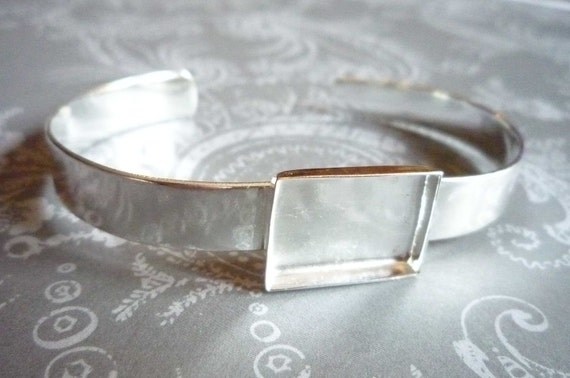 Sterling Silver Plated Cuff Bracelet with Bezel Setting for Images or Cabochons Qty 1