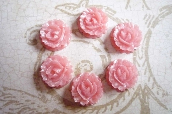 Pearl Finish Pink Round Resin Flower Carved Rose Flat Back 15mm Cabochons Qty 6