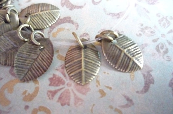 Antiqued Gold/Brass Metal Leaves 8mm X 11mm Charms