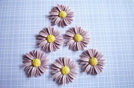 Purple Daisy Flower with Yellow Center Flat Back Resin 25mm Cabochons Qty 6