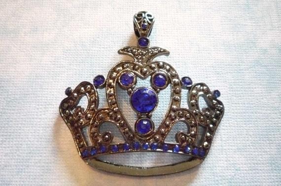 Large Black Crown Pendant with Blue Rhinestones Qty 1