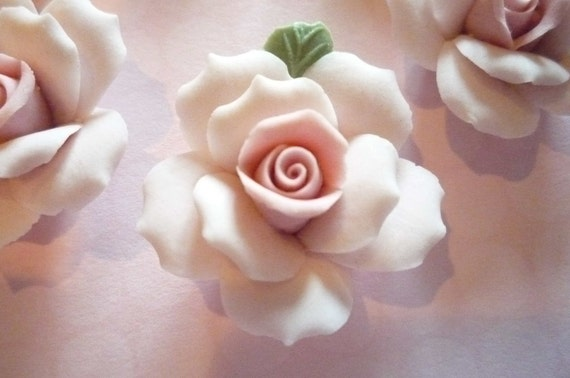 Soft Pastel Pink Ceramic Rose Flower Flat Back 27mm Cabochons with Green Leaf - Qty 3
