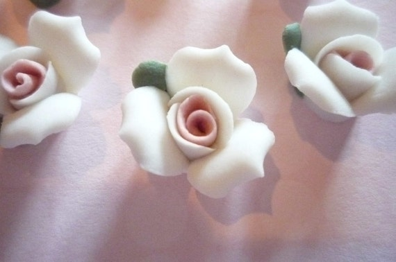 White Ceramic Rose Flower Flat Back 17mm Cabochons with Pink Center Qty 6
