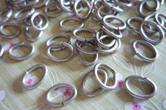 Antiqued Silver Oval 18 gauge Jump Rings 8 X 6mm Qty 88 Pieces
