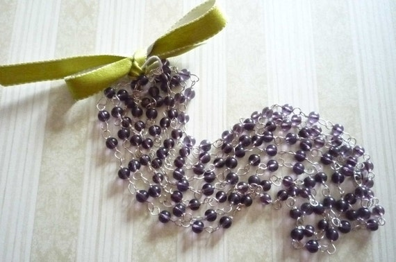 Purple Glass Beaded Silver Chain - 60 inches