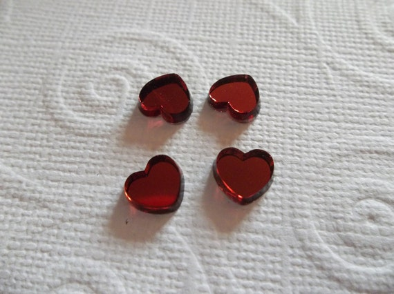 Rose Red 8mm Glass Mirror Heart Cabochons - Great for Floating Locket Charms - Qty 2