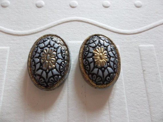 Vintage Inspired Black & White Glass Cabochons with Gold Accents and Mosaic Design 18 X 13mm - Qty 2