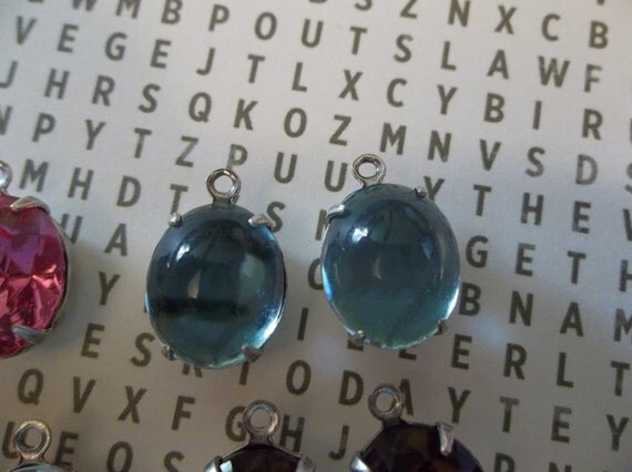 Pair of Aquamarine Blue 12 X 10mm Transparent Glass & Oxidized Sterling Silver Plated Brass Jewel Drop Charms with 1 Loop