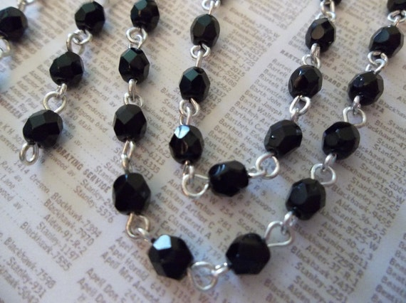 Jet Black 4mm Fire Polished Glass Beads on Silver Beaded Chain - Qty 18 Inch strand