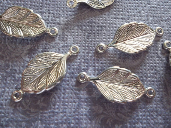 Sterling Silver Plated 15 x 9mm 2 Loop Leaf Connectors or Charms - Qty 8