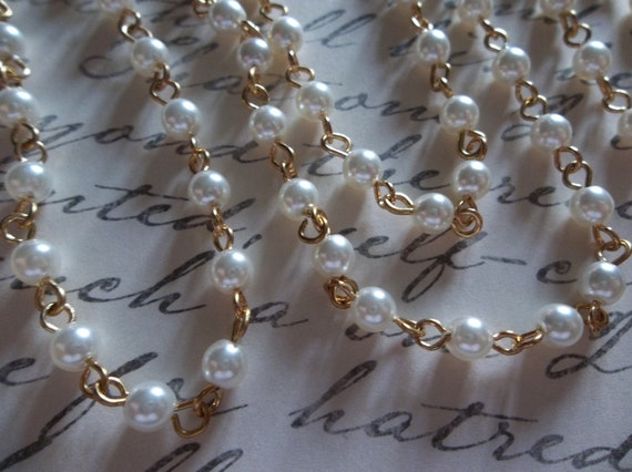 White 4mm Glass Pearls on Gold Beaded Chain - Qty 18 inch strand