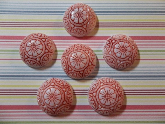 Retro Style Red & White 18mm Round Czech Glass Mosaic Stone Cabochons with Flower Pattern - Qty 6