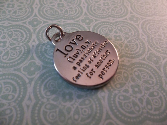 NEW: Round SIlver Pendant with Definition of LOVE in Text & Words - Qty 1