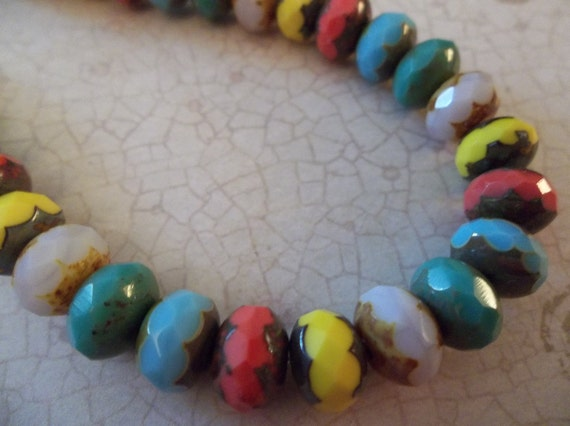 NEW: Picasso Faceted Puffy Rondelle Czech Glass Beads in COlor Mix with Contrasting Ends - 7 inch strand