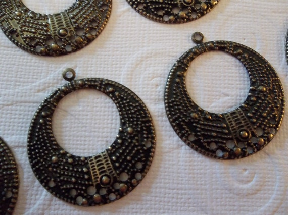 30% OFF SALE: Round Hoop Chandelier Earring Filigree Findings in Antiqued Brass - Qty 6